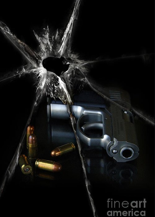 Gun Greeting Card featuring the photograph Handgun Bullets And Bullet Hole by Jill Battaglia