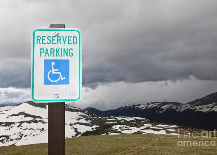 Cloudy Greeting Card featuring the photograph Handicap Parking Sign At A National Park by Bryan Mullennix