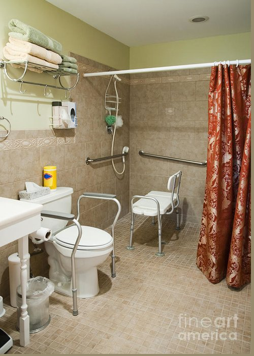 Bathroom Greeting Card featuring the photograph Handicapped-accessible Bathroom by Andersen Ross