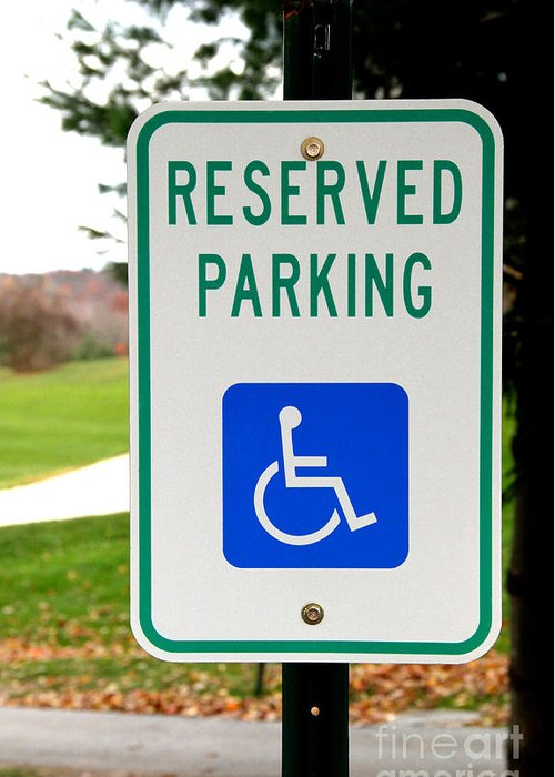 Sign Greeting Card featuring the photograph Handicapped Parking Sign by Photo Researchers