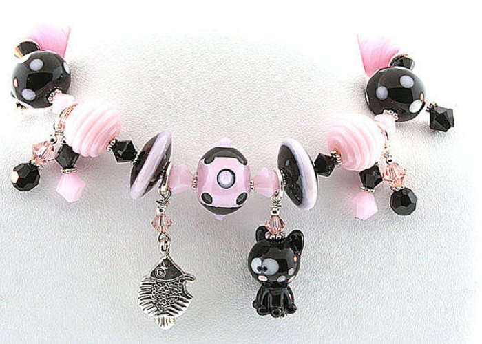 Pet Bracelets Greeting Card featuring the jewelry Handmade Glass Lampwork Black And Pink Cat Bracelet by Chelsea Pavloff