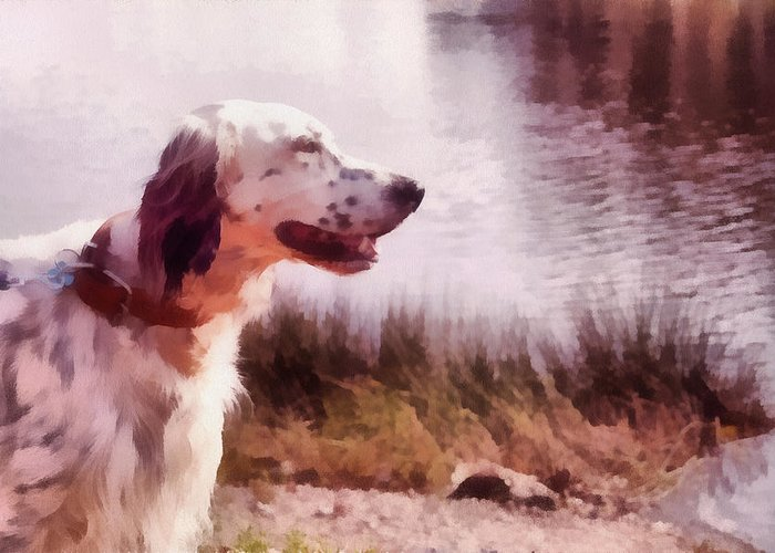 Dog Greeting Card featuring the pyrography Handsome Hunter. English Setter by Jenny Rainbow