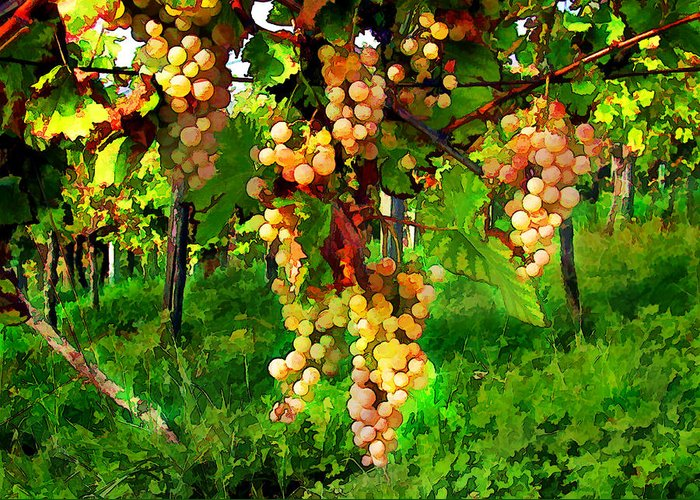 Wine Greeting Card featuring the painting Hanging Grapes On The Vine by Elaine Plesser