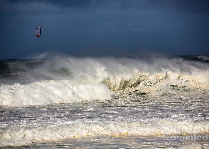 Kite Surfer Greeting Card featuring the photograph Hanging In There by Avalon Fine Art Photography
