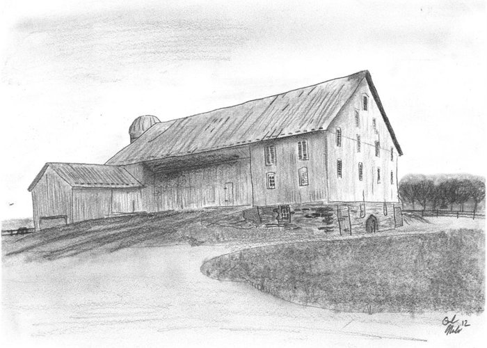 Barn Greeting Card featuring the drawing Hanover Barn 1 by Carl Muller