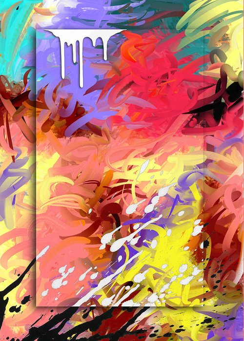 Abstract Greeting Card featuring the painting Happiness by Snake Jagger