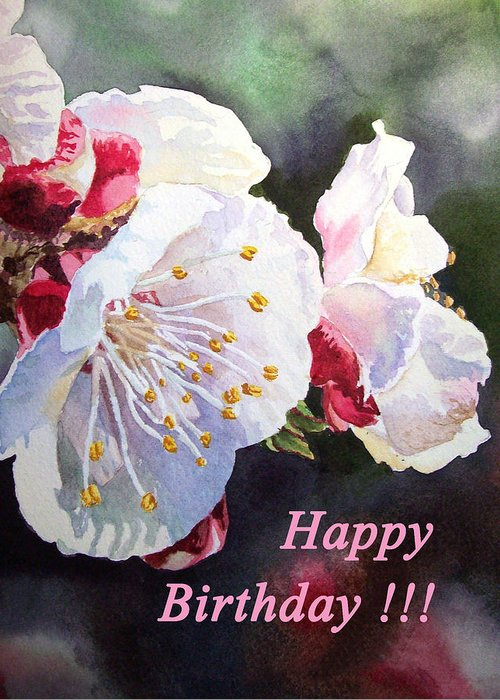 Happy Birthday Card Apricot Flowers Greeting For Sale By Irina Sztukowski