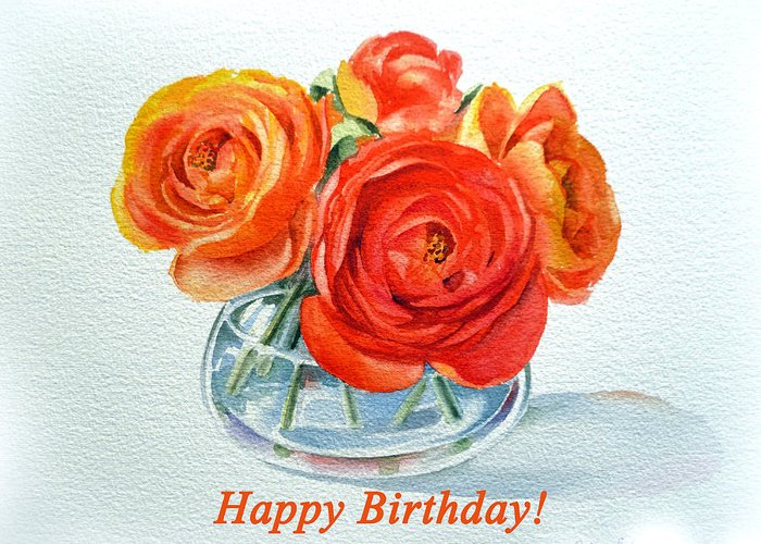 greeting card featuring the painting happy birthday card flowers by irina sztukowski - Happy Birthday Cards Flowers