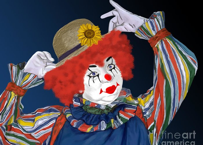 Happy Clown Greeting Card featuring the painting Happy Clown by Methune Hively