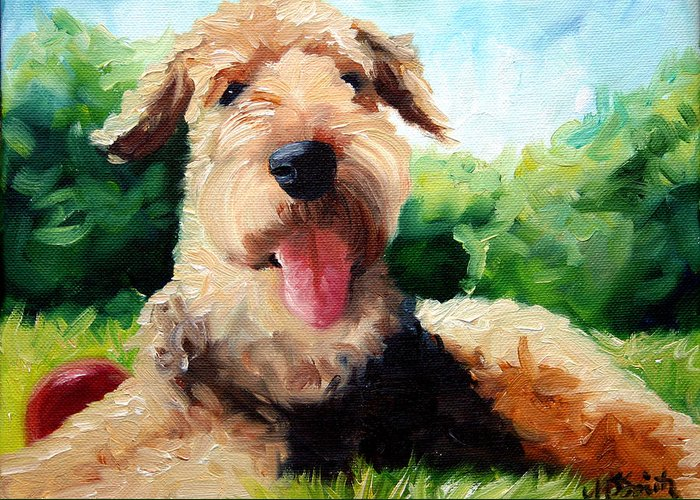 Art Greeting Card featuring the painting Happy Dale by Mary Sparrow