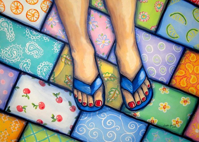 Feet Greeting Card featuring the painting Happy Feet by Sandra Lett