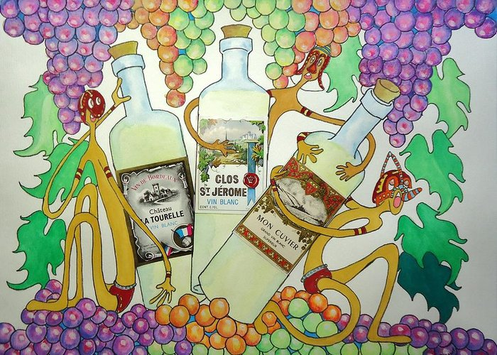 Grapes Greeting Card featuring the painting Happy People With Wine by Glenn Calloway