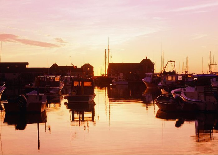 Attractions Greeting Card featuring the photograph Harbor At Sunrise by Bilderbuch