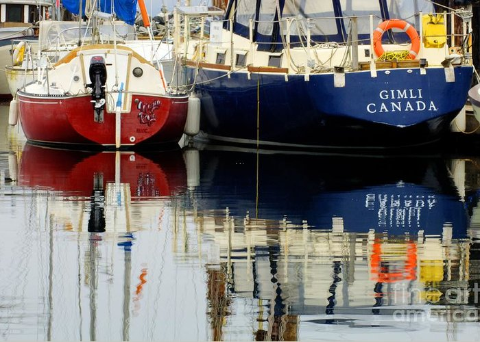 Fishing Boats Greeting Card featuring the photograph Harbor Reflections by Bob Christopher