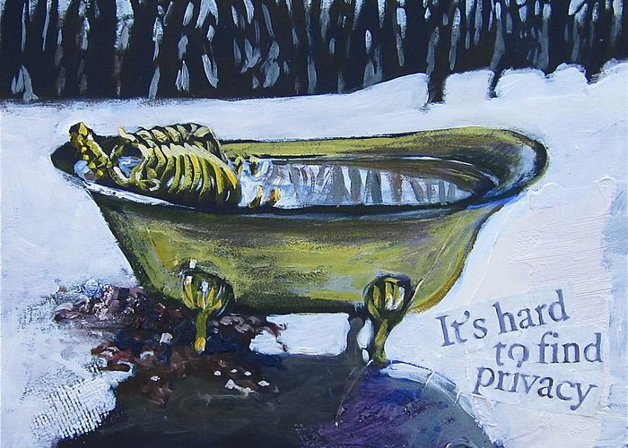 Landscape Greeting Card featuring the painting Hard To Find Privacy by Tilly Strauss