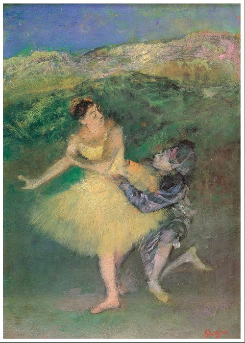 Harlequin And Colombine Greeting Card featuring the painting Harlequin And Colombine by Edgar Degas