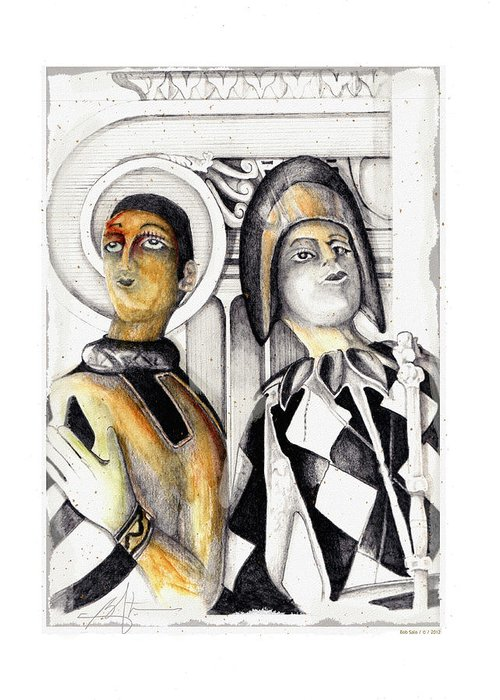 Harlequins Greeting Card featuring the drawing Harlequins by Bob Salo