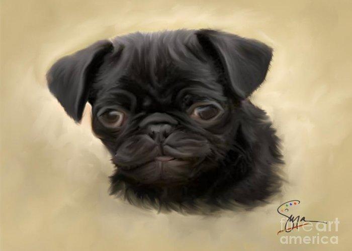 Black Pug Puppy Greeting Card featuring the digital art Harley by Susan Blanton
