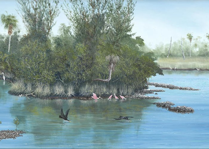 Egret Greeting Card featuring the painting Harmony by Kevin Brant