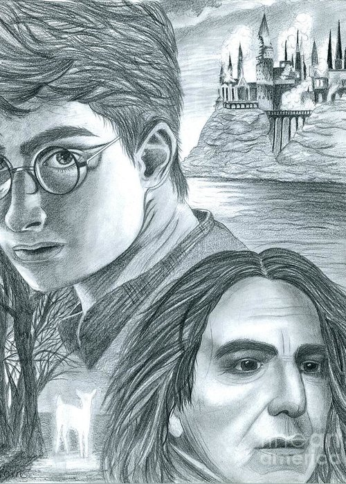Harry Greeting Card featuring the drawing Harry Potter by Crystal Rosene