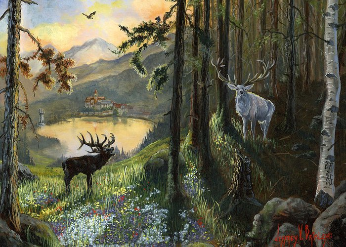 Deer Greeting Card featuring the painting Harts Gambit by Jeff Brimley
