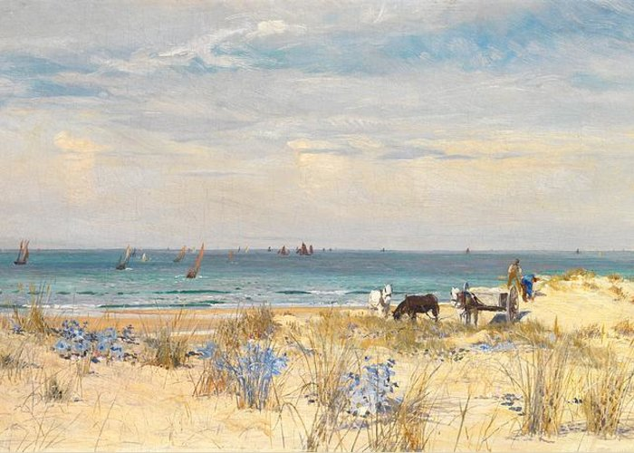 Boat Greeting Card featuring the painting Harvesting The Land And The Sea by William Lionel Wyllie