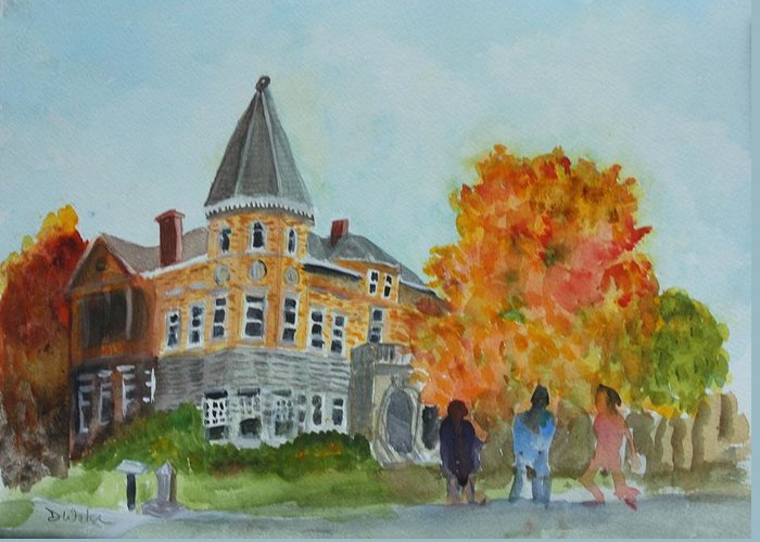 Haskell Free Library Greeting Card featuring the painting Haskell Free Library In Autumn by Donna Walsh