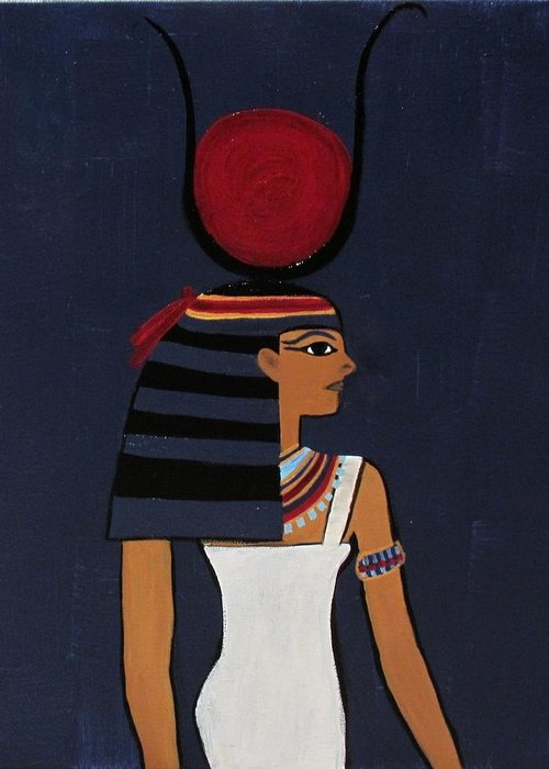 Ancient Greeting Card featuring the painting Hathor by Diana Martinez