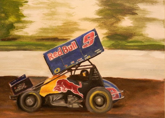 Joey Saldana Greeting Card featuring the painting Haulin' Ass by James Lopez