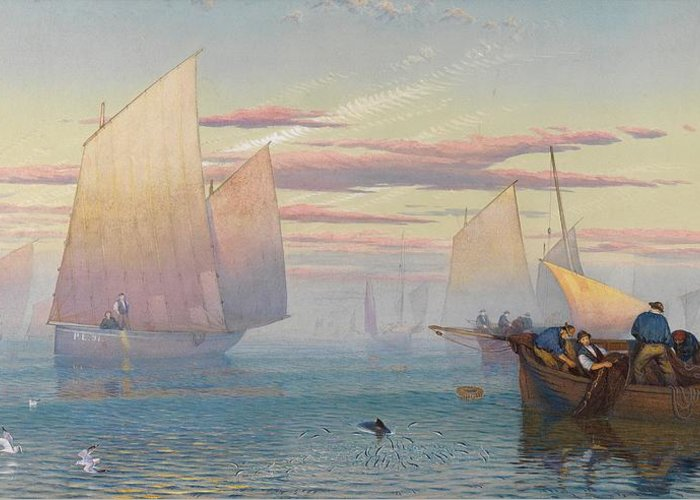 Hauling In The Nets (w/c Heightened With Bodycolor)seascape; Fishing Boats; Fishing Boats; Fishermen; Net; Sea; Seascape Greeting Card featuring the painting Hauling In The Nets by JB Pyne