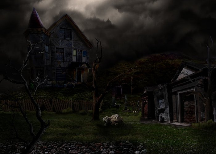House Greeting Card featuring the digital art Haunted House by Lisa Evans