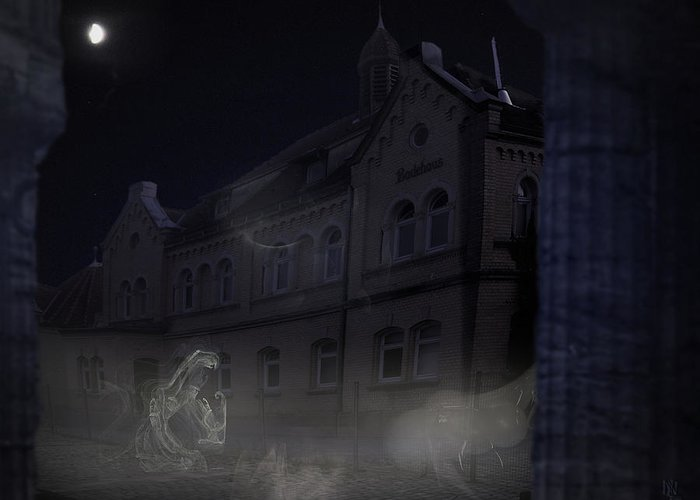 Scary Greeting Card featuring the digital art Haunted House by Nafets Nuarb