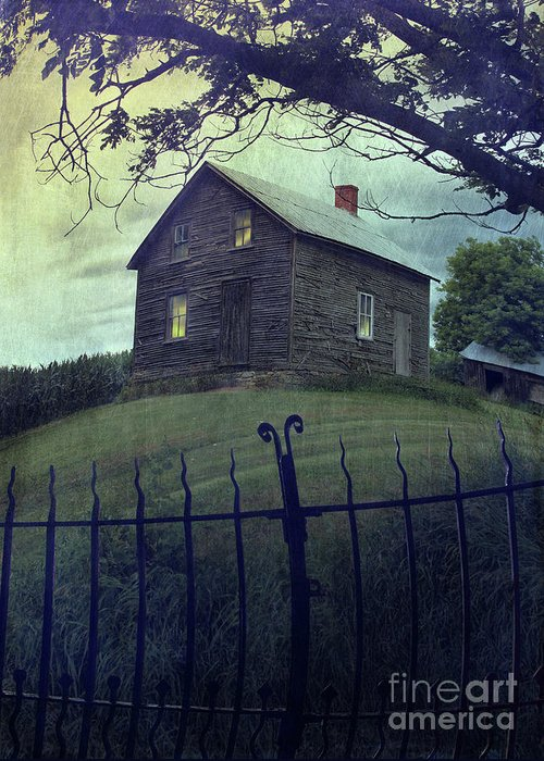 Abandon Greeting Card featuring the photograph Haunted House On A Hill With Grunge Look by Sandra Cunningham