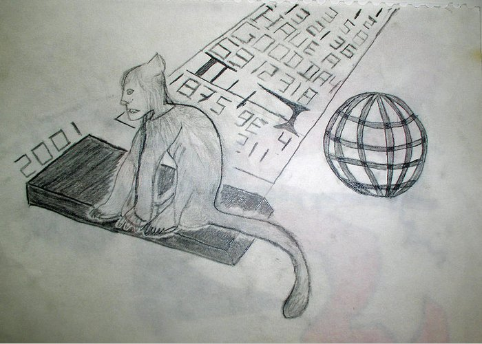 Mouse Greeting Card featuring the drawing Have A Good Day by Alexander Wahl