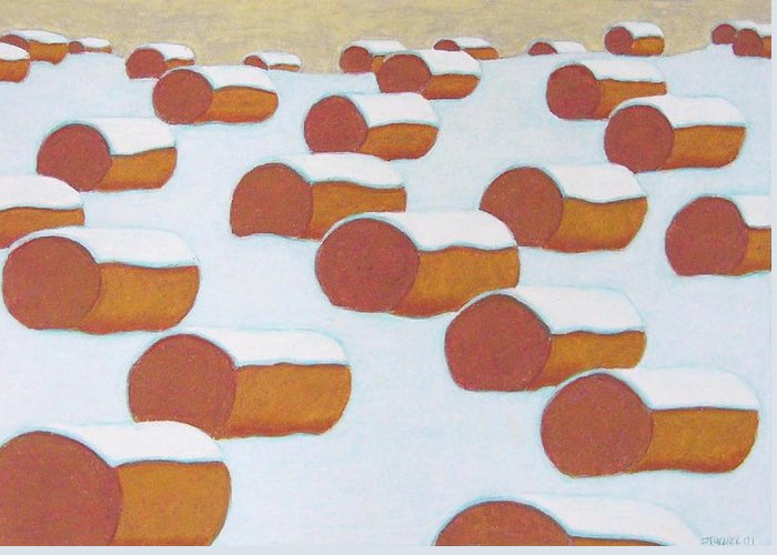 Haybales Set In A Winter Scene Greeting Card featuring the pastel Hay Balesin Winter by John Turner