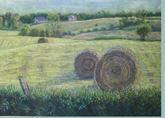 Landscape Greeting Card featuring the pastel Haybales Durham County by Ruth Greenlaw