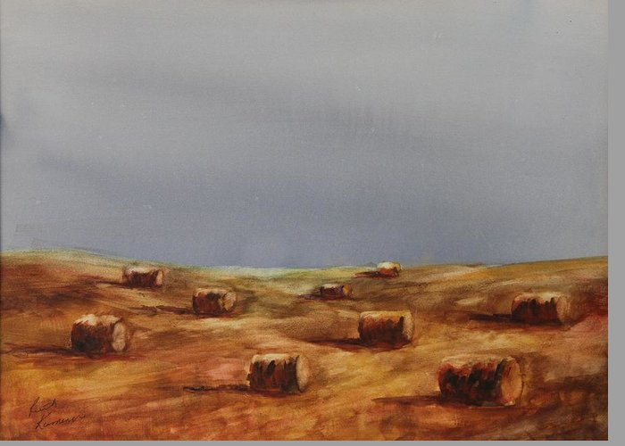 Bales Greeting Card featuring the painting Hayfield by Ruth Kamenev