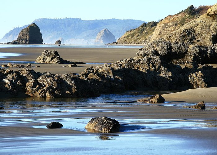 Oregon Coast Greeting Card featuring the photograph Haystack Rock From Arcadia Beach by Steven A Bash