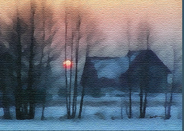 Landscape Greeting Card featuring the painting Hazy Winter Morning by Anthony Caruso