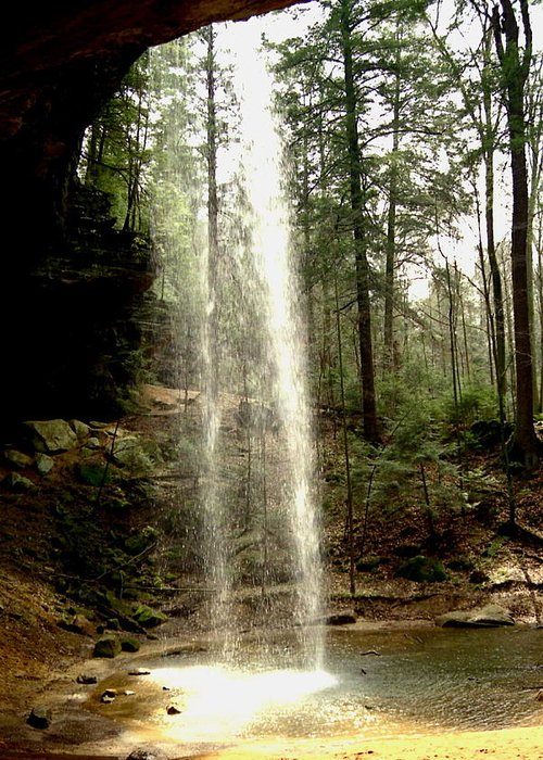 Waterfall Greeting Card featuring the photograph Hcking Hills Waterfall by Inga Smith