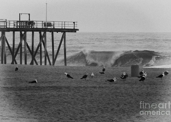 Hdr Greeting Card featuring the photograph Hdr Black White Beach Beaches Ocean Sea Seaview Waves Pier Photos Pictures Photographs Photo Picture by Pictures HDR