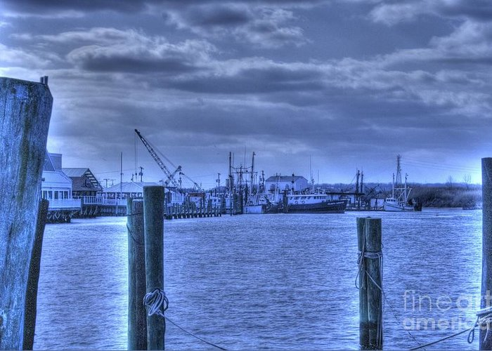 Boat Greeting Card featuring the pyrography Hdr Fishing Boat Across The Jetty by Pictures HDR