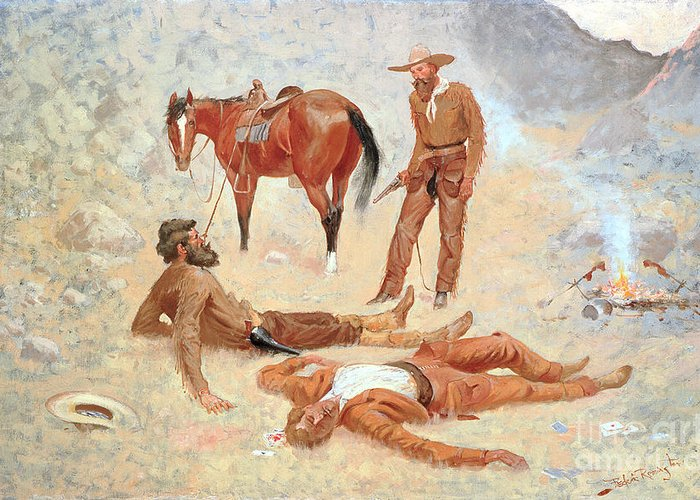 He Lay Where He Had Been Jerked Greeting Card featuring the painting He Lay Where He Had Been Jerked Still As A Log by Frederic Remington