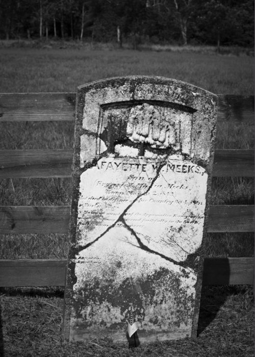 Appomattox Greeting Card featuring the photograph Headstone Of Lafayette Meeks by Teresa Mucha