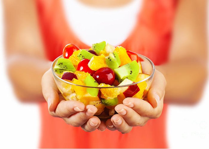 Background Greeting Card featuring the photograph Healthy Fruit Salad by Anna Om