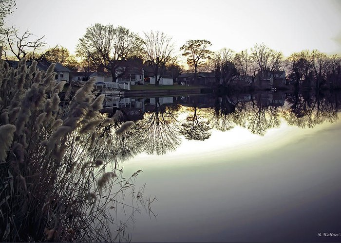 2d Greeting Card featuring the photograph Hearns Pond Reflection by Brian Wallace
