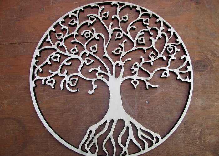 Wood Greeting Card featuring the sculpture Heart-fruit Tree by Keith Cichlar