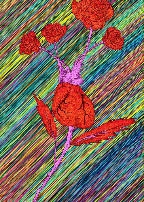 Heart Made Of Rose Drawing Greeting Cards
