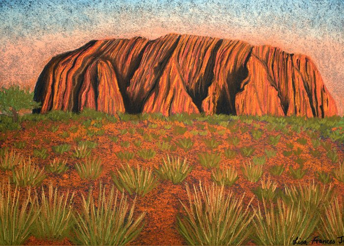 Pastel Greeting Card featuring the painting Heart Of Australia by Lisa Frances Judd
