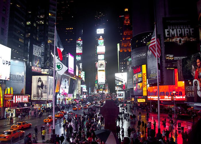 Times Square Colors Greeting Card featuring the photograph Heart Of Times Square by Heidi Reyher